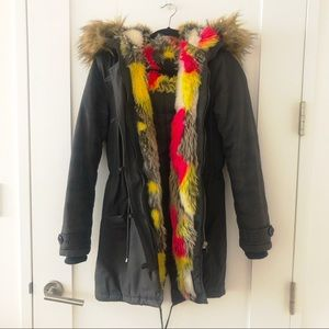 Faux Fur Hooded Military Parka Size S